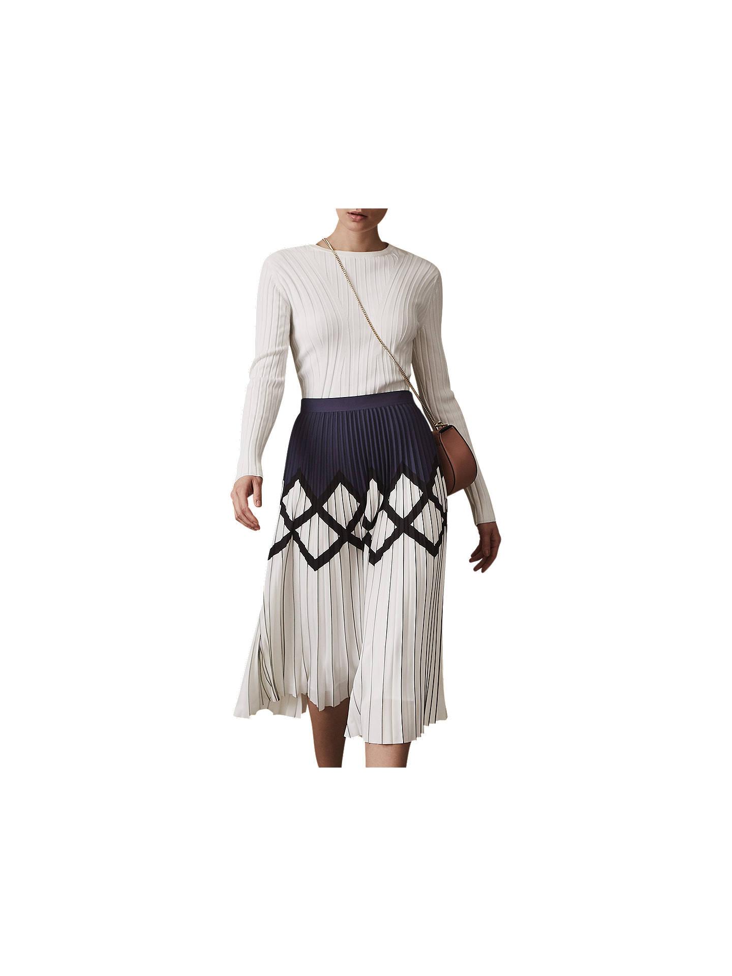 cef33ad23 Buy Reiss Elsa Pleat Midi Skirt, Navy/White, 6 Online at johnlewis.