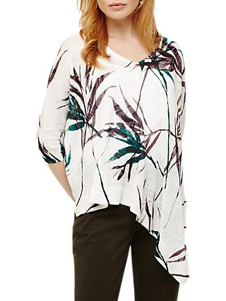 Phase Eight Bora Bamboo Print Linen Knit Top, White/Multi