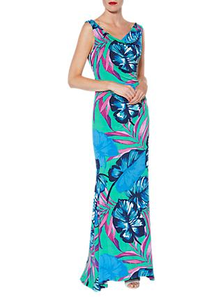 Gina Bacconi Tropical Print Maxi Dress, Multi