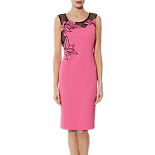 Buy Gina Bacconi Mariko Crepe Mesh Dress, Pink Online at johnlewis.com