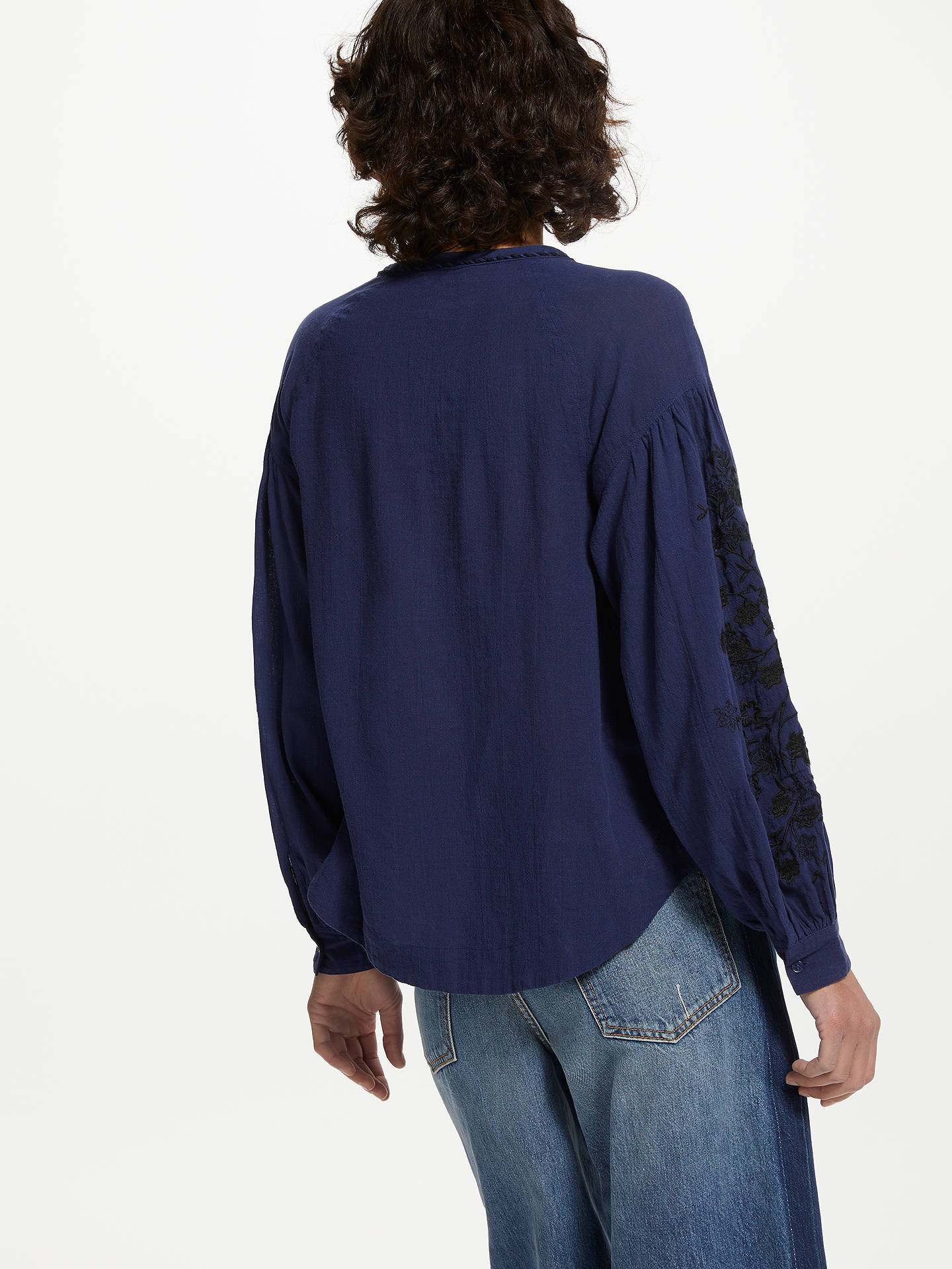 BuyAND/OR Embroidered Blouson Sleeve Blouse, Blue, 8 Online at johnlewis.com