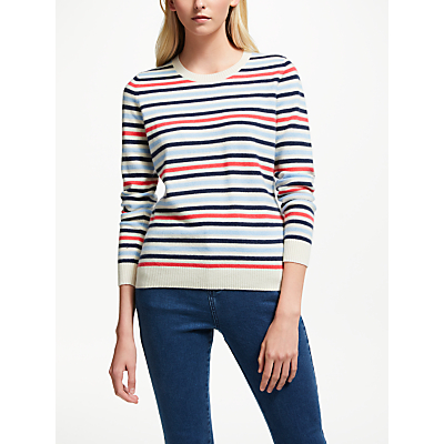Collection WEEKEND by John Lewis Cashmere Crew Neck Stripe Jumper, Navy Multi