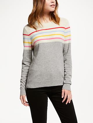 Collection WEEKEND by John Lewis Block Stripe Cashmere Jumper, Grey/Multi