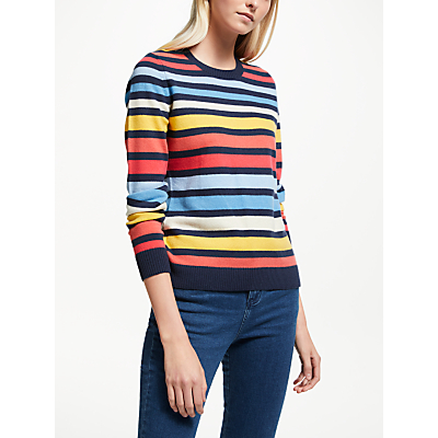 Collection WEEKEND by John Lewis Cashmere Crew Neck Stripe Jumper, Multi Stripe