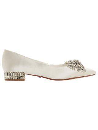 Dune Bridal Collection Bow Tie Ballet Pumps, Ivory
