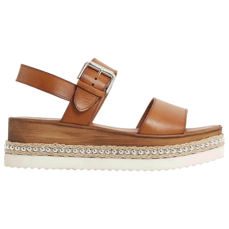 Sandale En Cuir Flatform Dune Avec Semelle Cloutée - Cuir Beige 11epXcFk5
