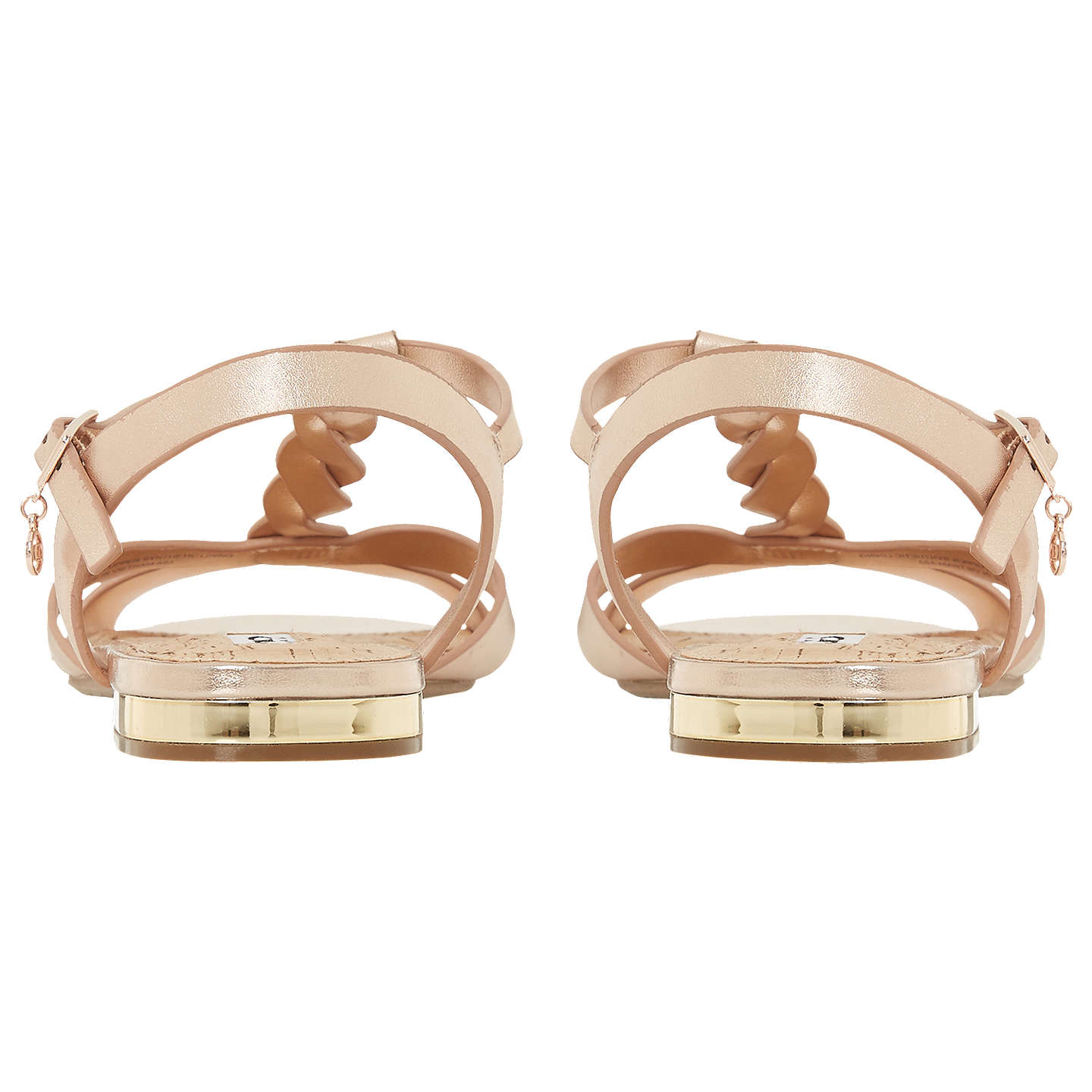BuyDune Lottery Plait Detail Sandals, Rose Gold Leather, 3 Online at johnlewis.com