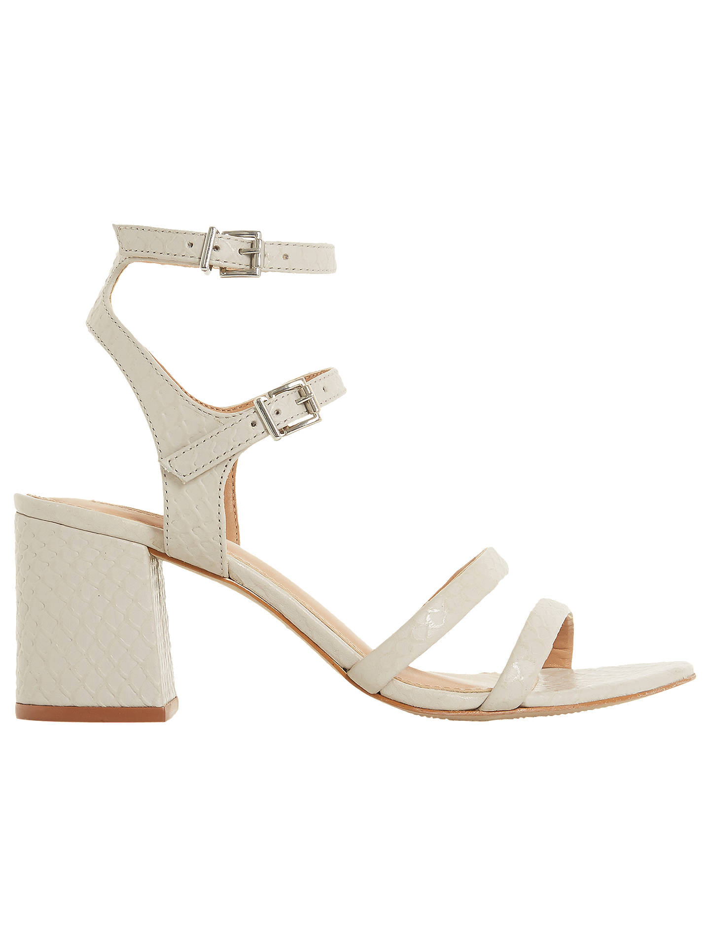 42901143bd Buy Dune Magner Block Heel Sandals, Reptile Grey Leather, 3 Online at  johnlewis.