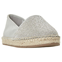 Buy Dune Graci Diamante Espadrilles, Silver Leather Online at johnlewis.com