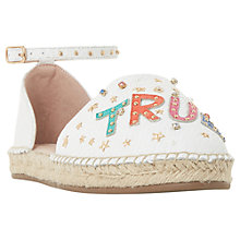 Buy Dune Glitza Embellished Two Part Espadrilles, White Leather Online at johnlewis.com