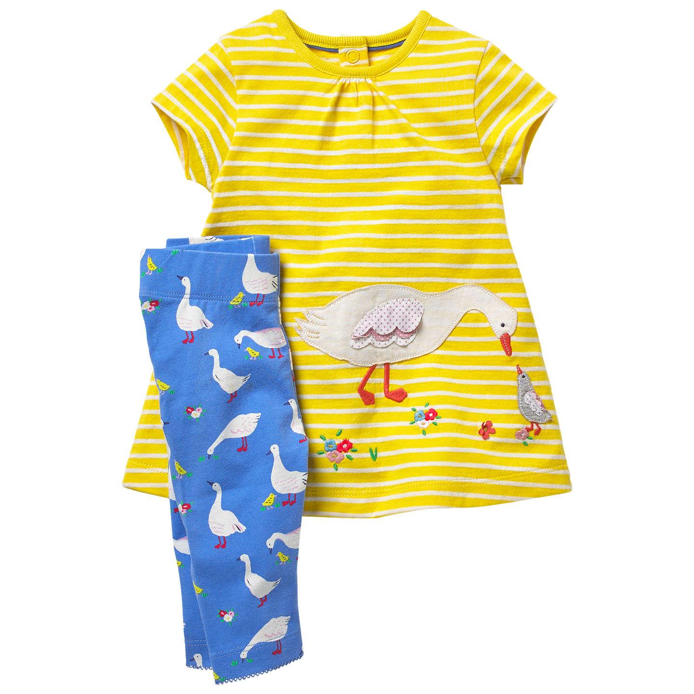 Mini Boden Baby Ducks Jersey Dress and Leggings Set Yellow at John