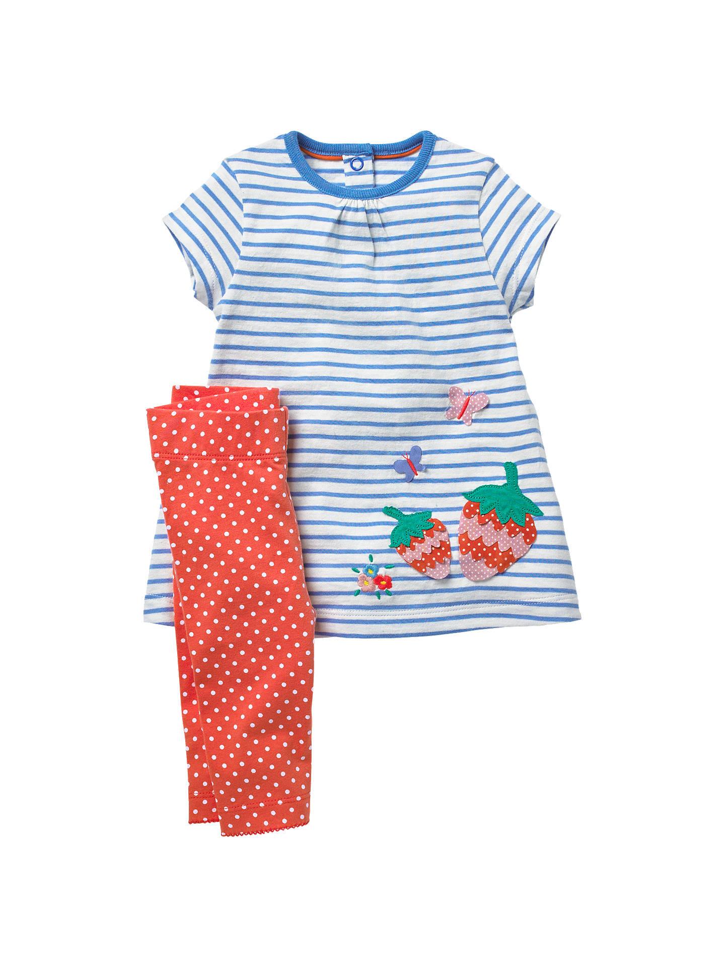 6d68fccd4ec5 Buy Mini Boden Baby Strawberry Jersey Dress and Leggings Set, Blue, 0-3 ...