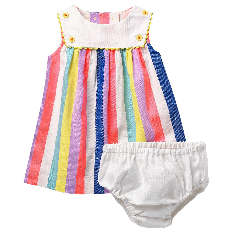 Mini Boden Baby Rainbow Sailor Dress and Knickers Set Multi at John