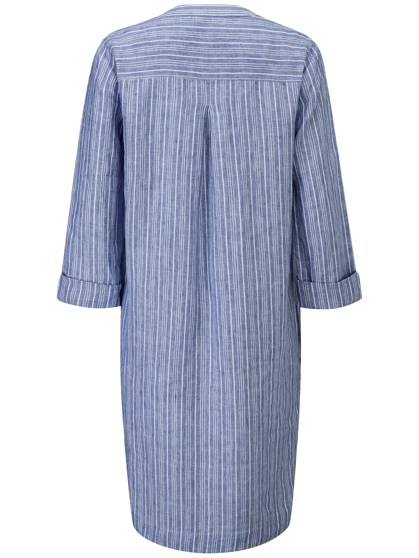 Buy Pure Collection Linen Striped Pocketed Dress, Blue/White, 8 Online at johnlewis.com