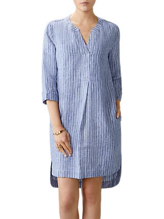 Pure Collection Linen Striped Pocketed Dress, Blue/White