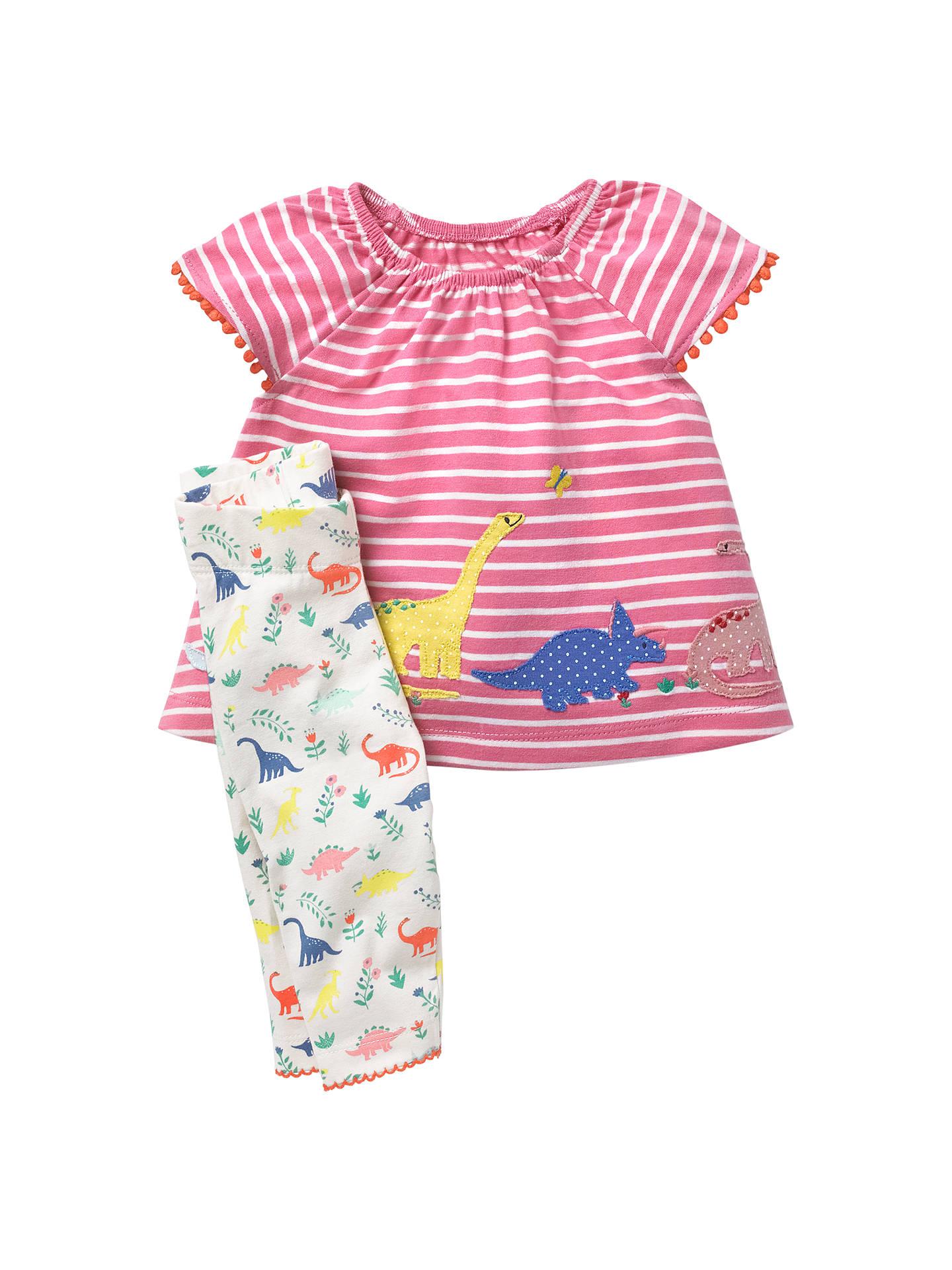 71b861106ce0 Mini Boden Baby Dino Stripe Top and Leggings Set, Pink at John Lewis ...