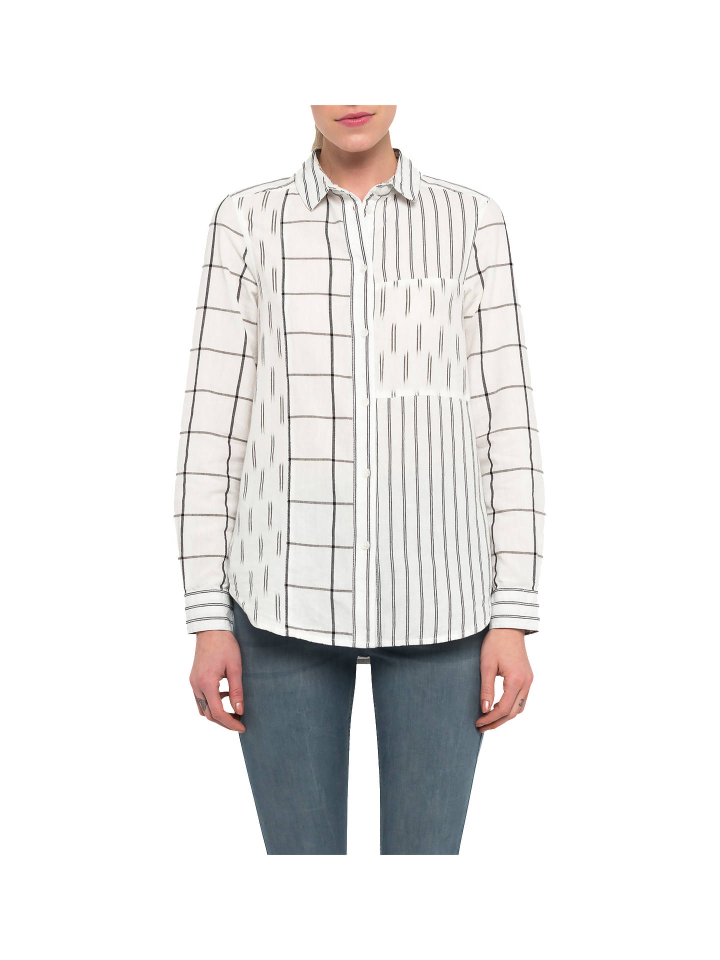cd8e16d9b86 Buy French Connection Maras Patchwork Shirt, Summer White/Black, 6 Online  at johnlewis ...