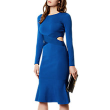 Buy Karen Millen Cut Out Flare Hem Dress, Blue Online at johnlewis.com
