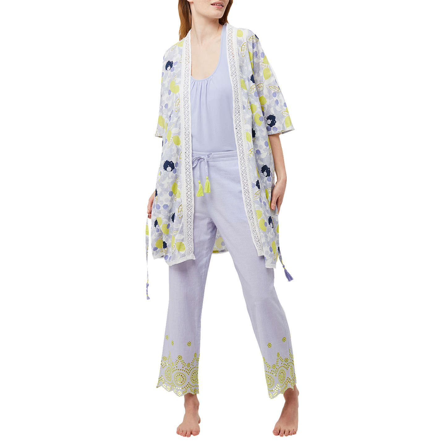 White Stuff Amelie Lemon Dressing Gown, Blue Multi at John Lewis
