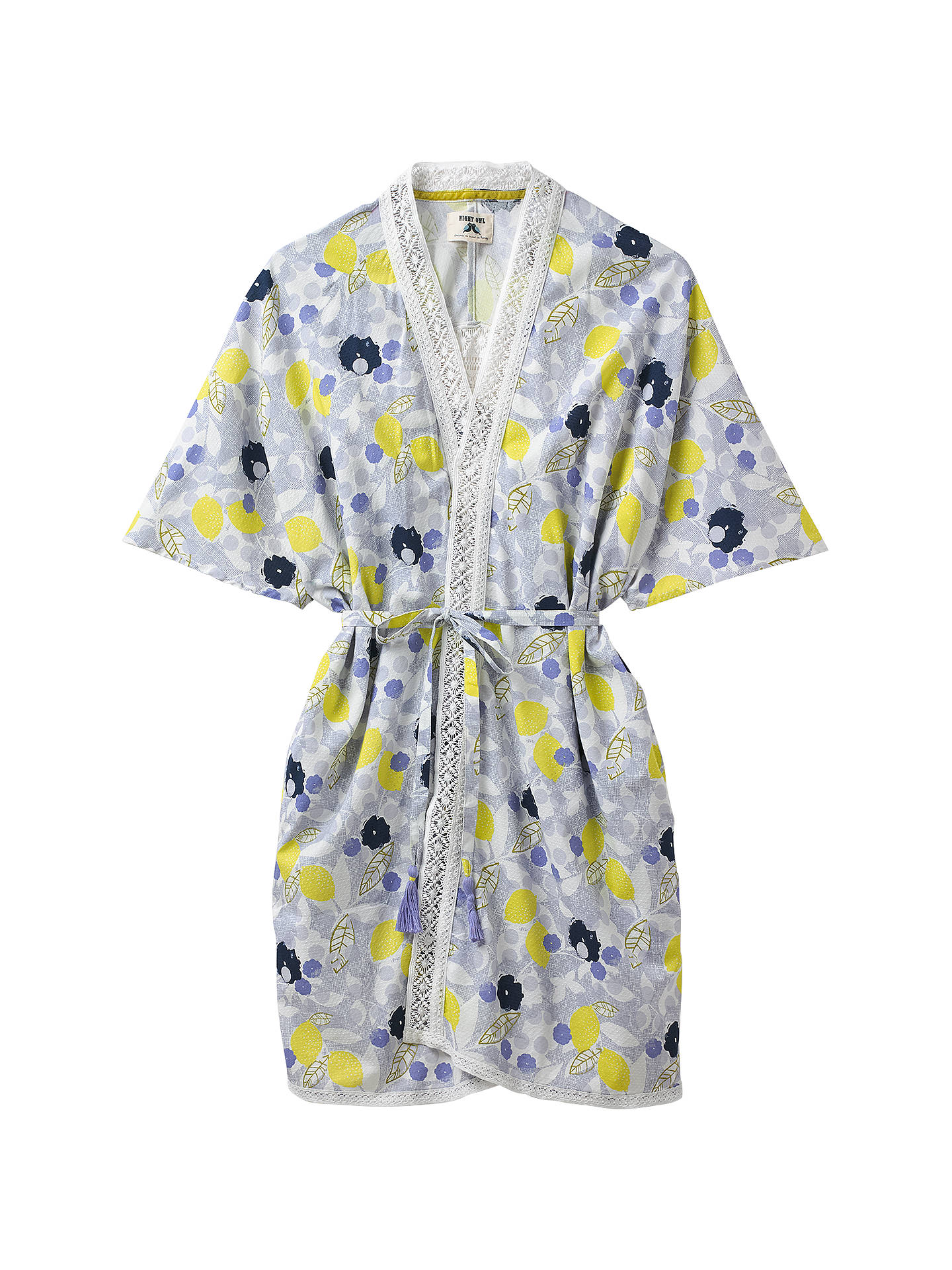 White Stuff Amelie Lemon Dressing Gown, Blue Multi at John Lewis ...