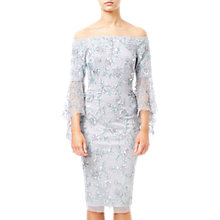 Buy Adrianna Papell Off Shoulder Bell Dress, Bridal Silver Online at johnlewis.com