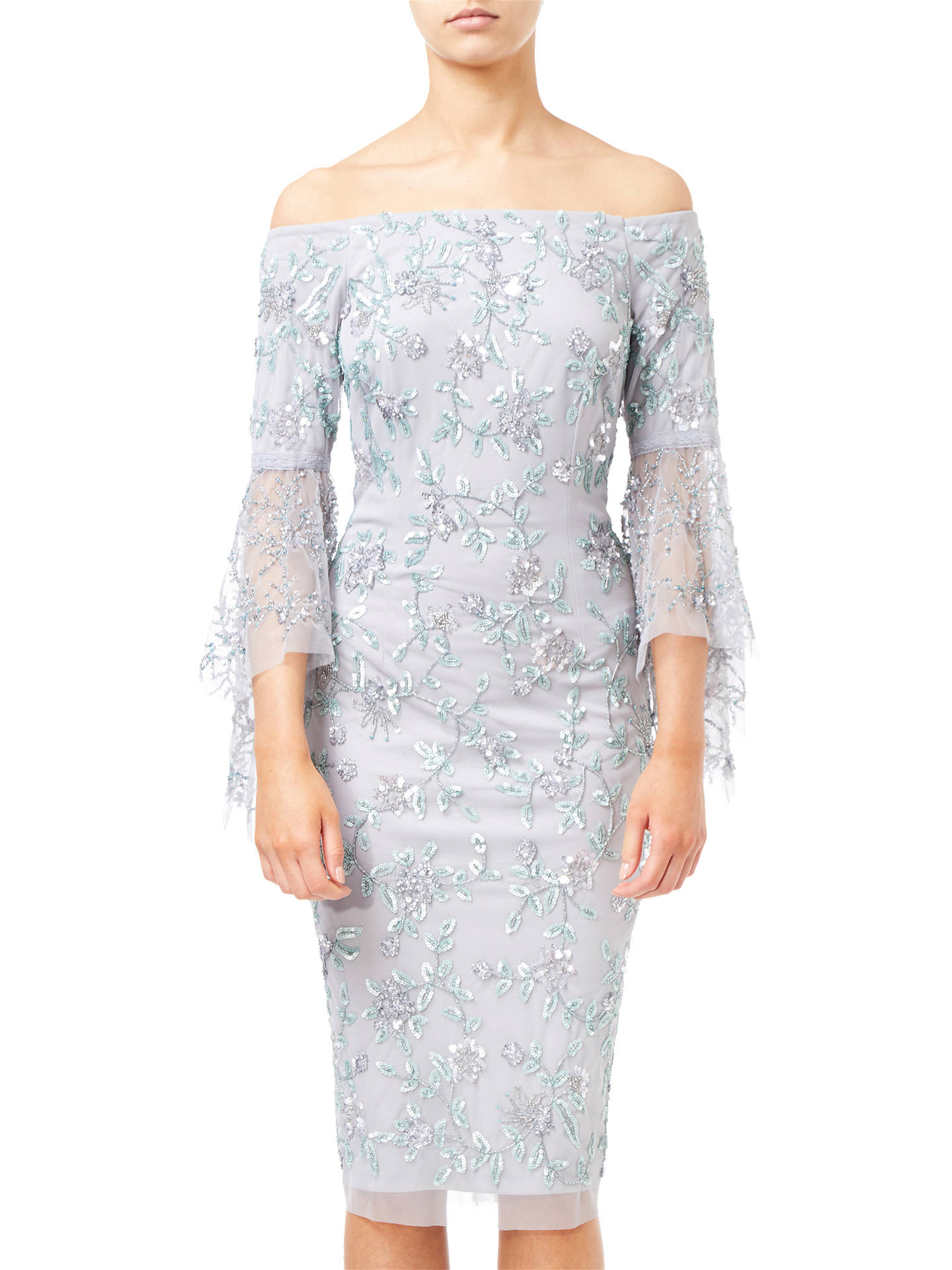 BuyAdrianna Papell Off Shoulder Bell Dress, Silver, 8 Online at johnlewis.com