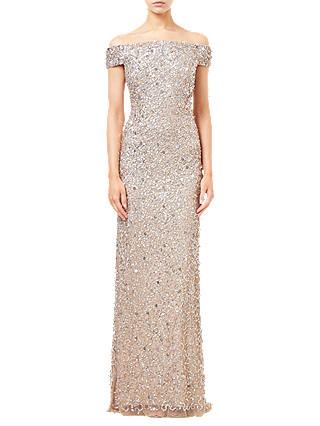 Buy Adrianna Papell Off Shoulder Crunchy Bead Dress, Champagne, 8 Online at johnlewis.com