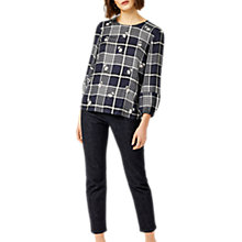 Buy Warehouse Daisy Embroidered Check Top, Blue Online at johnlewis.com