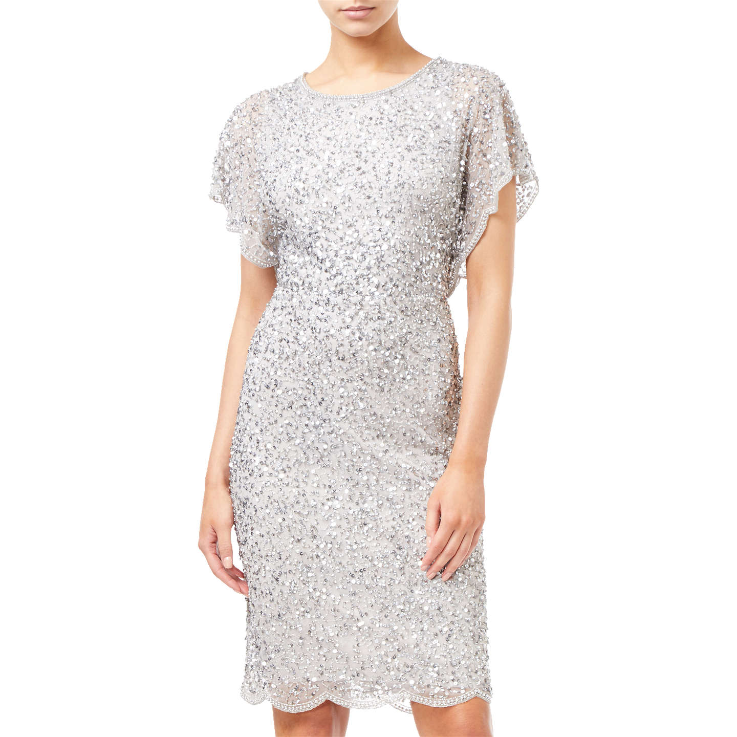 Adrianna Papell Flutter Sleeve Beaded Dress, Silver at John Lewis
