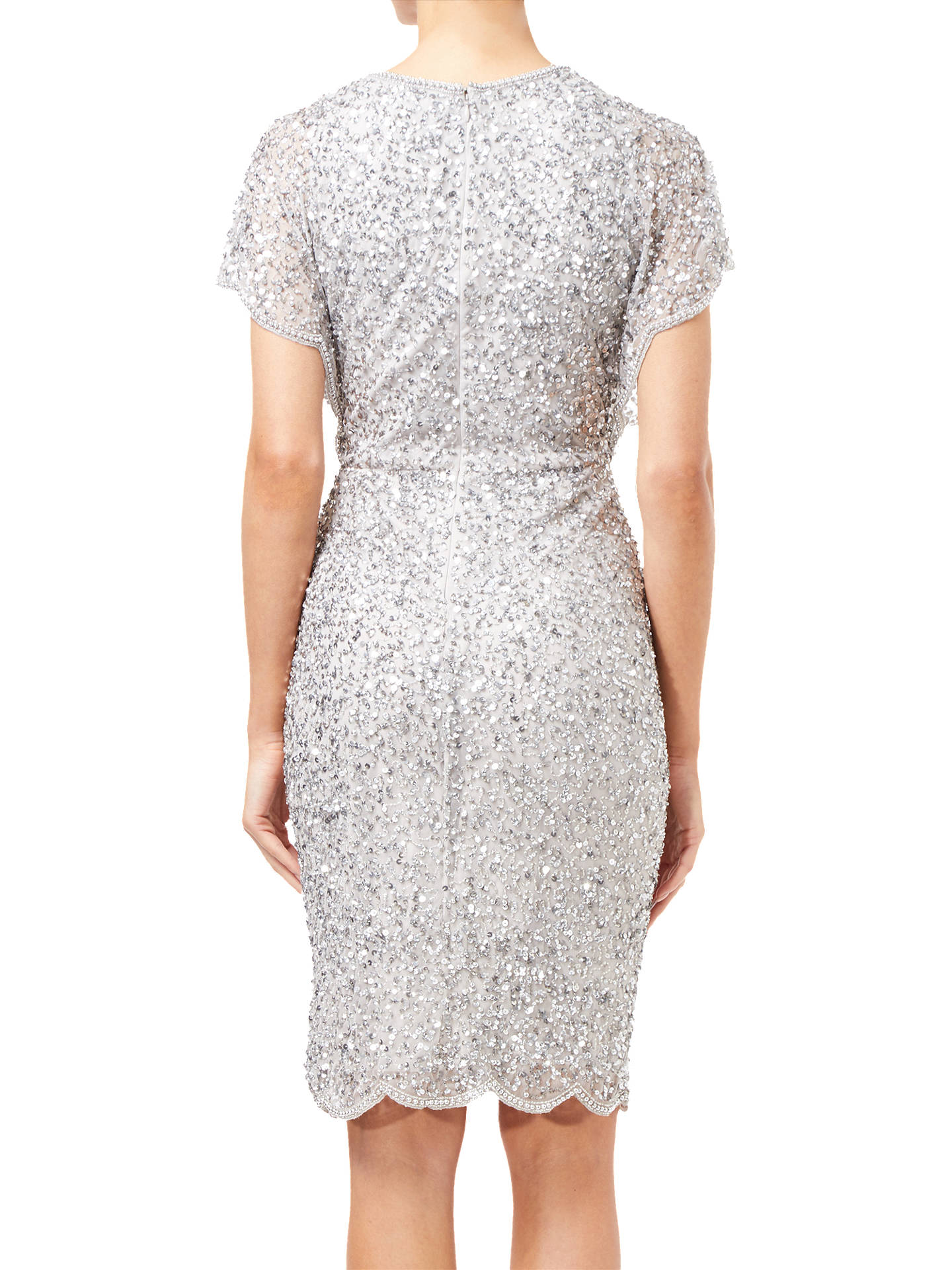 BuyAdrianna Papell Flutter Sleeve Beaded Dress, Silver, 10 Online at johnlewis.com