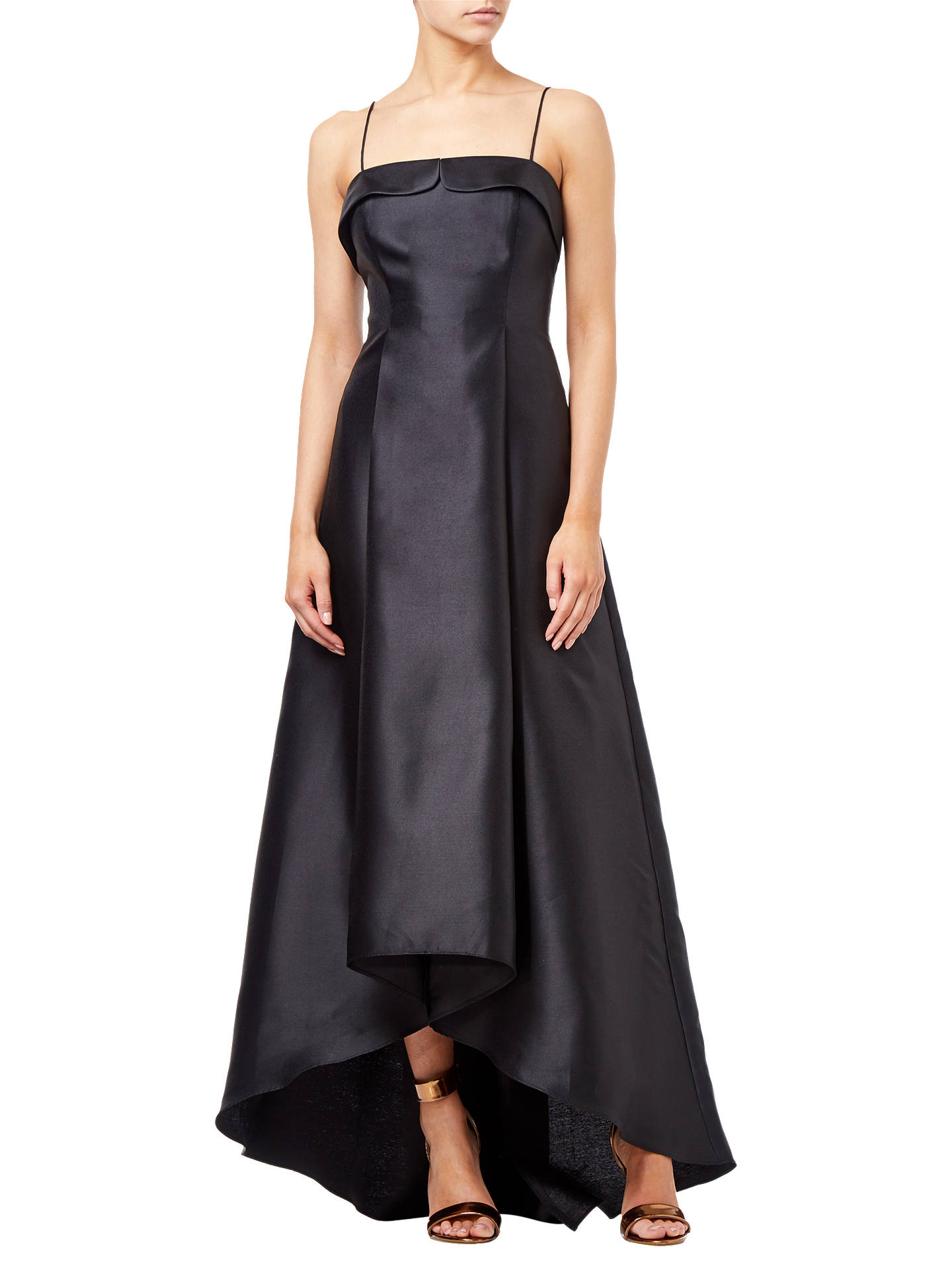 Buy Adrianna Papell Mikado Asymmetric Long Dress, Black, 8 Online at johnlewis.com