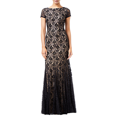 Adrianna Papell Beaded Long Dress, Black/Nude