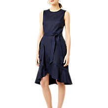 Buy Warehouse Compact Cotton Ruffle Dress, Navy Online at johnlewis.com