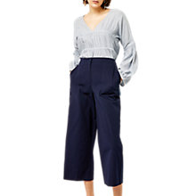 Buy Warehouse Cotton Culotte, Navy Online at johnlewis.com