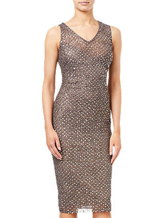 Buy Adrianna Papell Short Beaded Dress, Lead, 8 Online at johnlewis.com