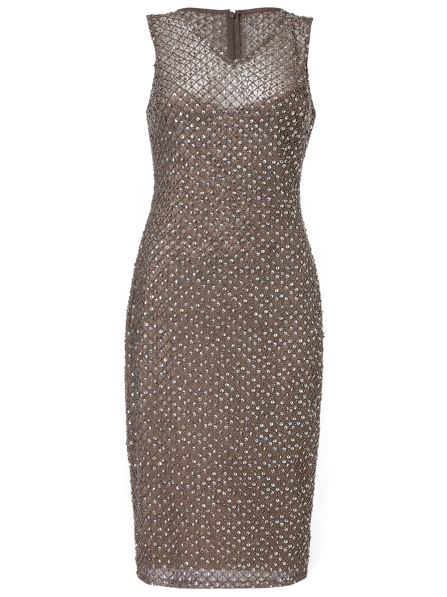 BuyAdrianna Papell Short Beaded Dress, Lead, 8 Online at johnlewis.com