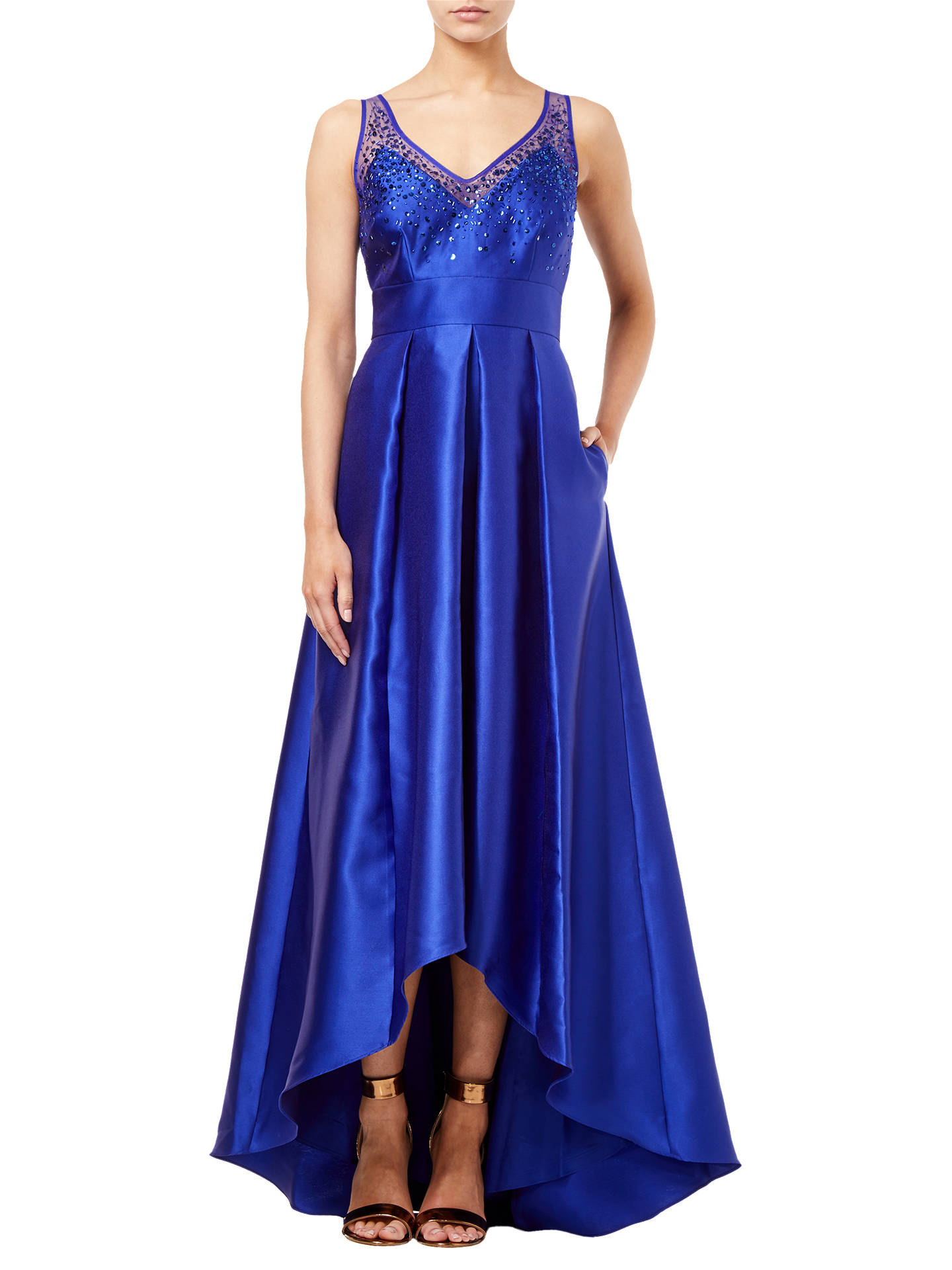 Buy Adrianna Papell Mikado Illusion Dress, Neptune Blue, 8 Online at johnlewis.com
