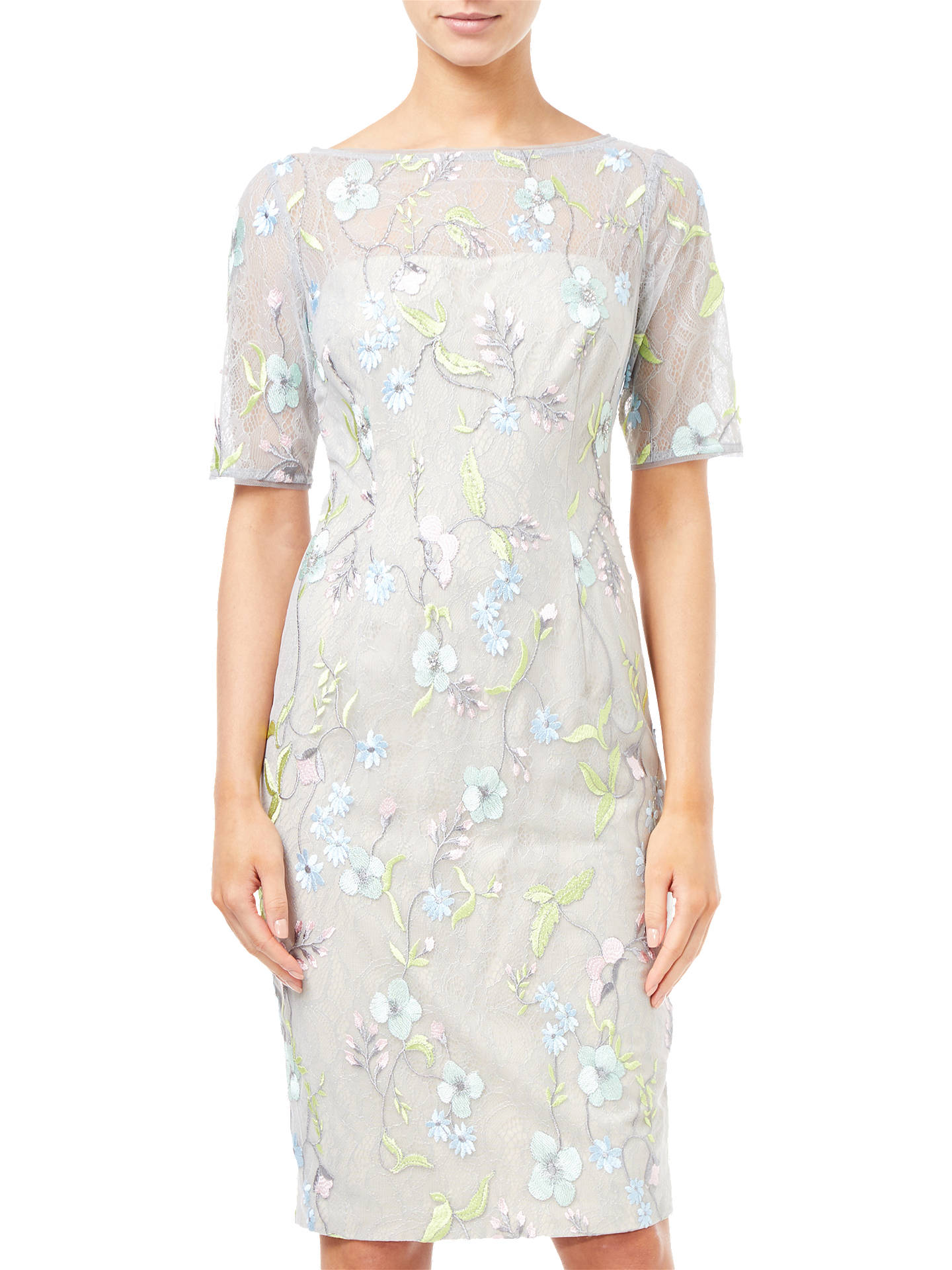 Buy Adrianna Papell Embroidered Sheath Dress, Lime Multi, 8 Online at johnlewis.com