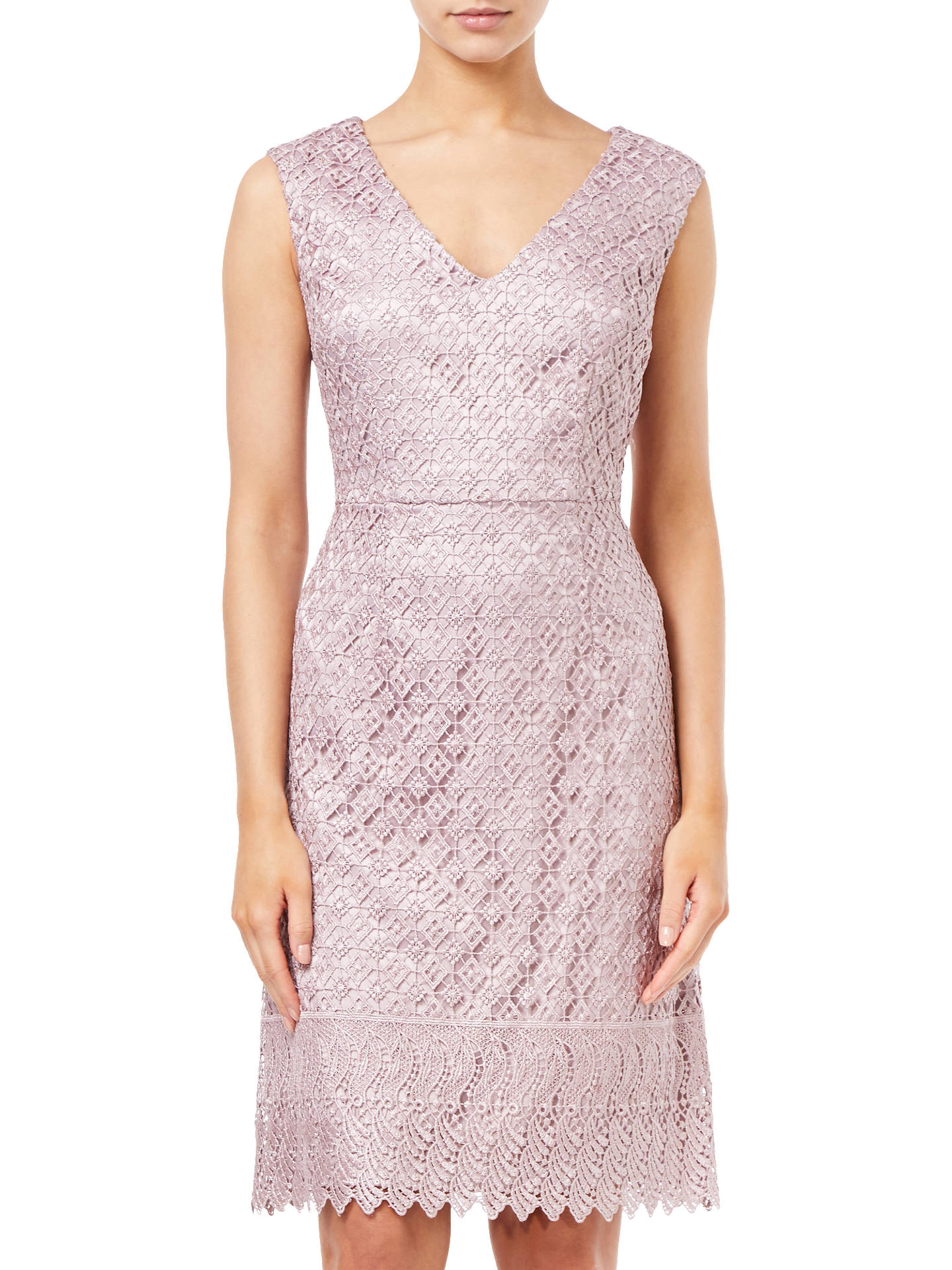Buy Adrianna Papell Short Guipure Lace Dress, Pink Sateen, 8 Online at johnlewis.com