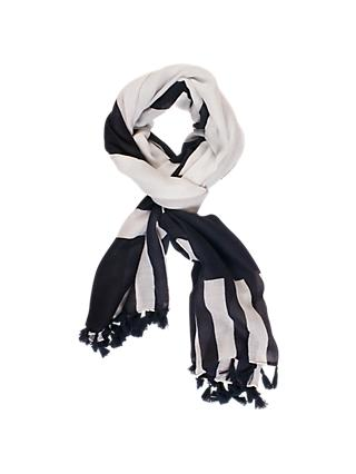 chesca Stripe Tasselled Trim Scarf, White/Navy