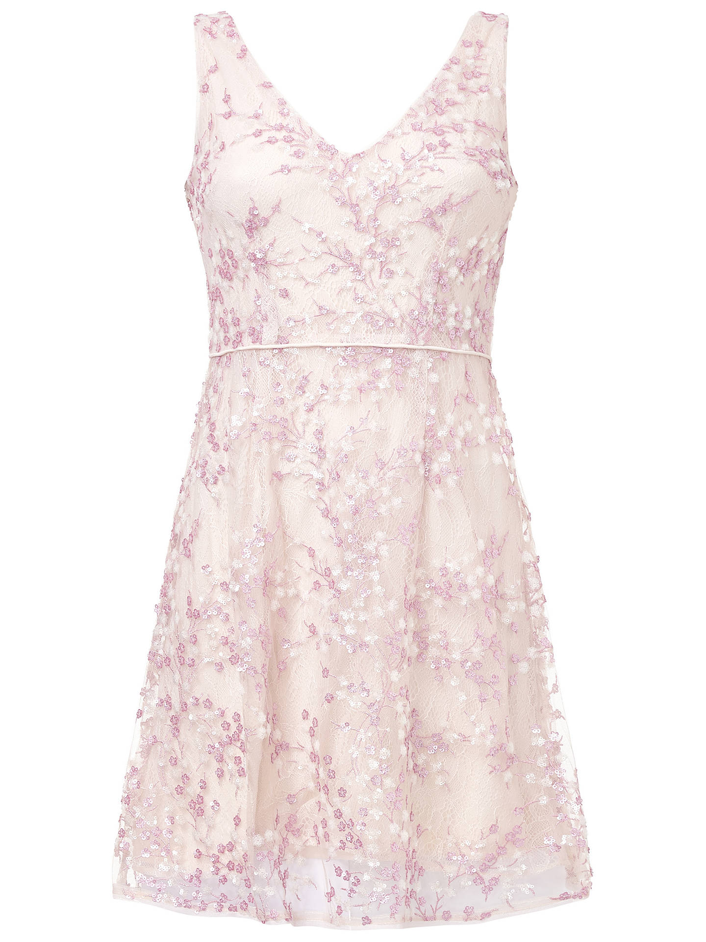 Buy Adrianna Papell A-line Short Dress, Pink, 8 Online at johnlewis.com