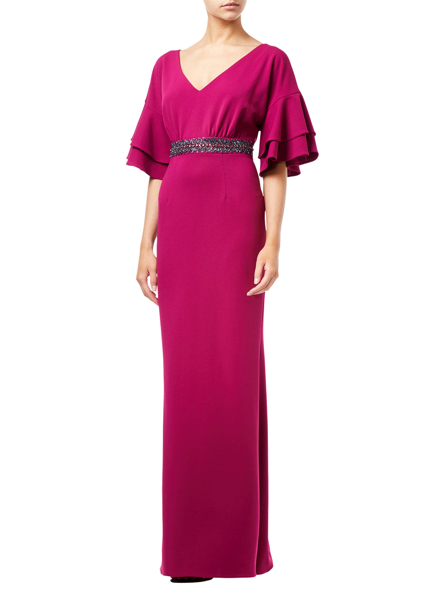 BuyAdrianna Papell Long Crepe Dress, Plum, 8 Online at johnlewis.com