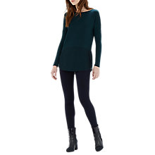 Buy Warehouse Woven Mix Long Sleeved Top, Green Online at johnlewis.com