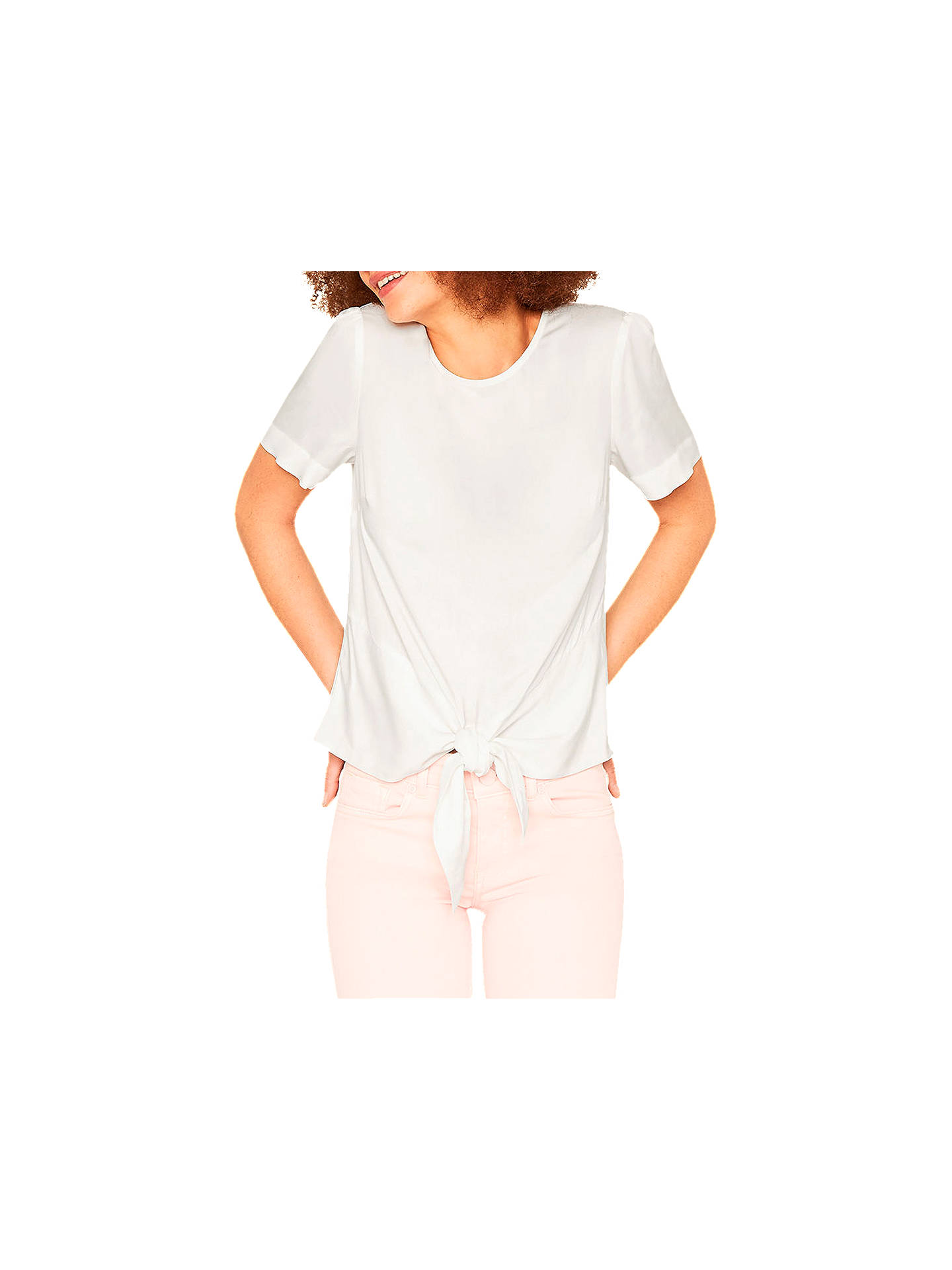 e581041644a3 Buy Oasis Tie Front T-Shirt, Off White, 6 Online at johnlewis.