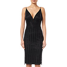 Buy Adrianna Papell Beaded Short Dress, Black Online at johnlewis.com