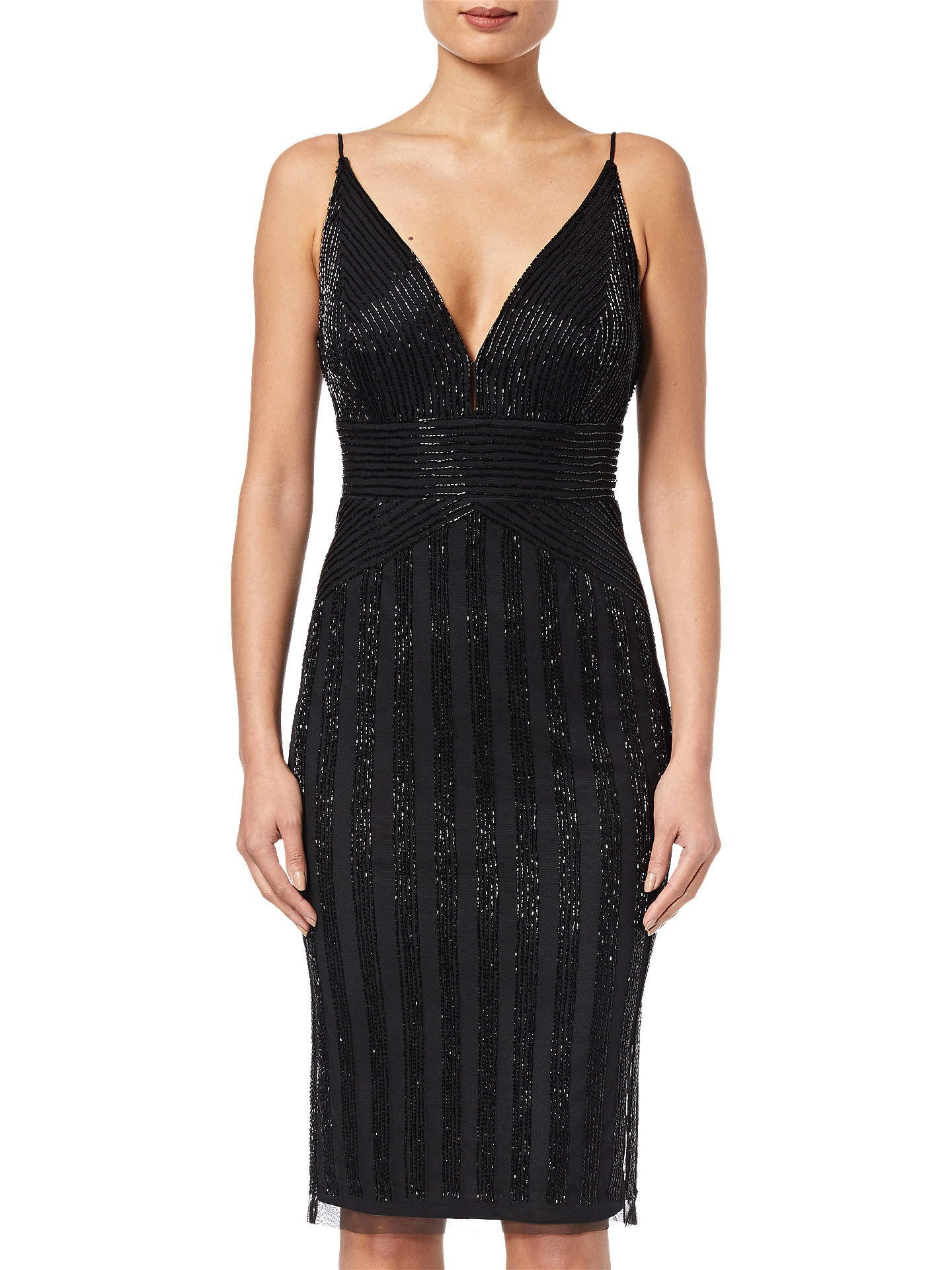 BuyAdrianna Papell Beaded Short Dress, Black, 14 Online at johnlewis.com