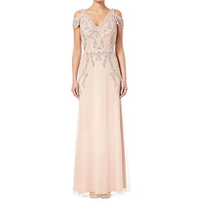 Adrianna Papell Beaded Long Dress, Blush