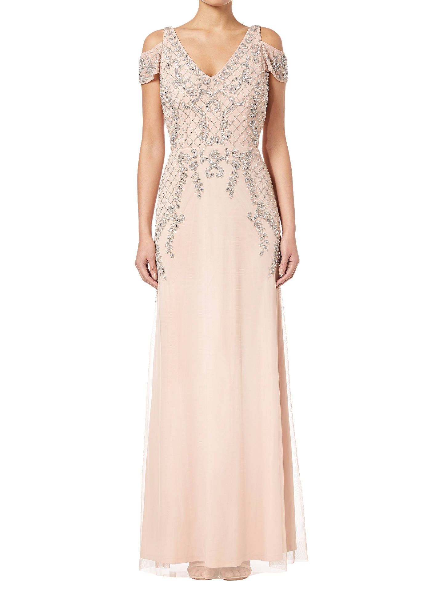 BuyAdrianna Papell Beaded Long Dress, Blush, 12 Online at johnlewis.com