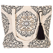 Buy chesca Floral Embroidered Canvas Bag, Natural/Black Online at johnlewis.com