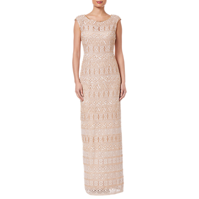 Adrianna Papell Beaded Long Dress, Champagne